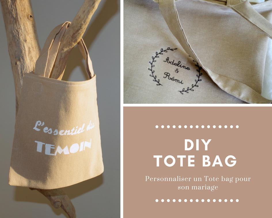 DIY tote bag pour les mariages avec le sac pour vos témoins