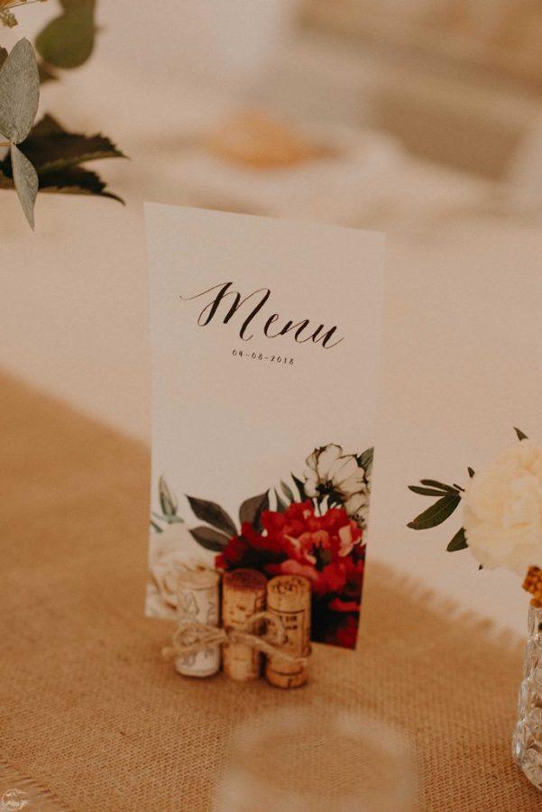 menu mariage pour une decoration fleurie