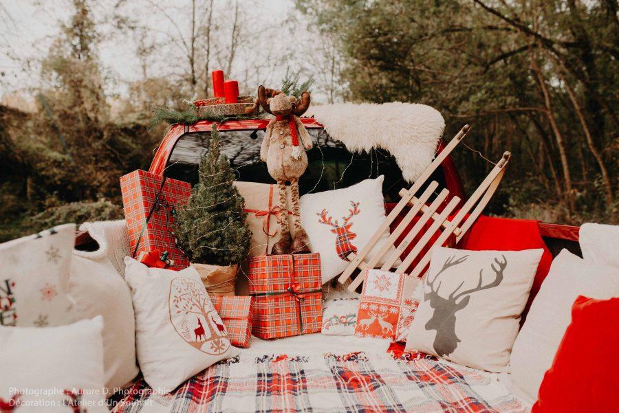 décor de Noël pour séance photo pick up américain-Tours