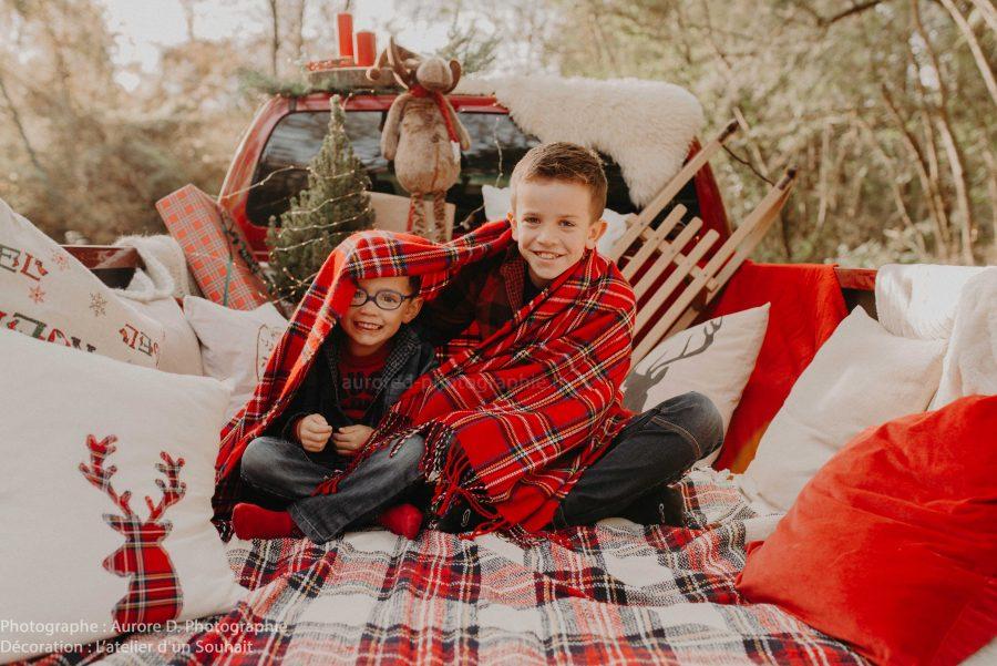 décoration renne et luge pour portait enfant