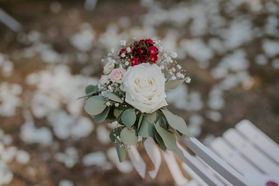 bouquet bouts de bancs pour allée de cérémonie