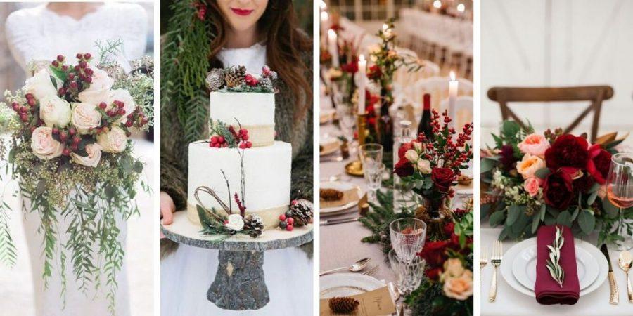 Mariage hivernal sur le thème de Noël