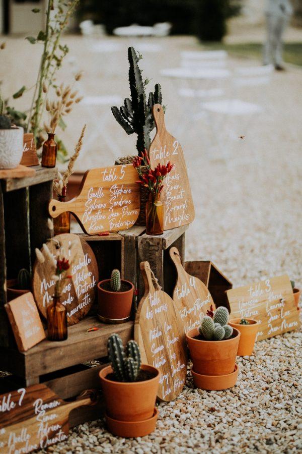 Plan de table original avec cactus par L